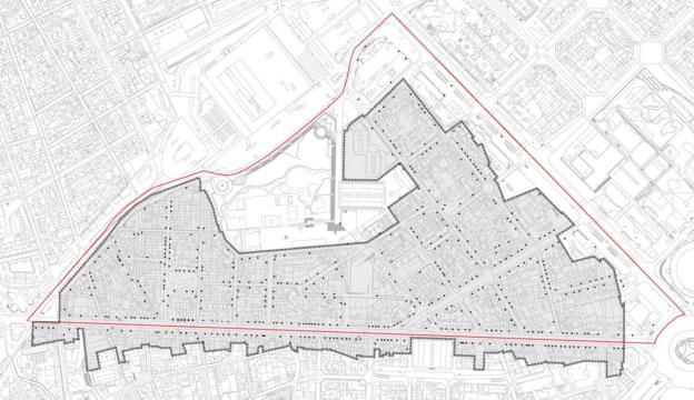 """Plànol del """"Triangle"""" afectat pel futur Pla d'Usos. Font: Ajuntament de Barcelona"""